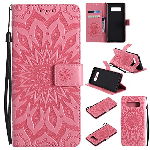 Galaxy Note 8 Case Cover,SMYTU Premium Emboss Sunflower Flip Wallet Shell PU Leather Magnetic Cover Skin with Wrist Strap Case for Samsung Galaxy Note 8(Pink) (Pink Leather Skin)