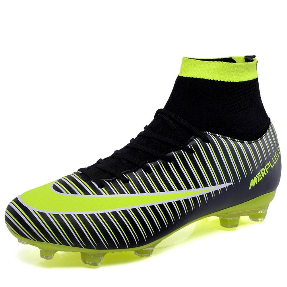 FG Soccer Cleats Mens CR7 Soccer Shoes for Kids Youth Superfly 2018 New Football Boots B07DSZMGVW Kids US4.5=EU35=22.5cm|Black