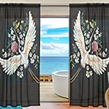 Cheap ALAZA Sheer Curtain Japanese Crane Flower Voile Tulle Window Curtain for Home Kitchen Bedroom Living Room 55×78 inches 2 panels
