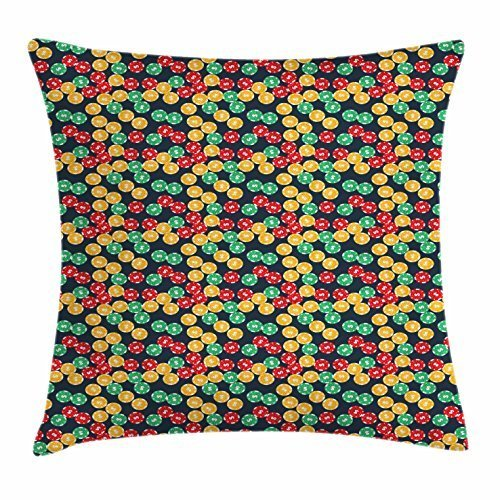 Dick Sidney Poker Throw Pillow Cushion Cover, Colorful Casino Chips with Dollar Signs Placed over an Abstract Slate Blue Background, Decorative Square Accent Pillow Case (Over Dollar Sign)