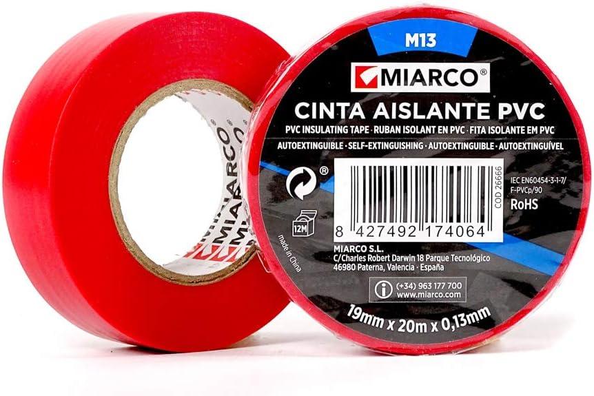miarco 26666 Cinta Aislante M13 20M Rojo 10 Unidades, ROJA, 19MM X ...