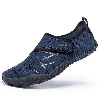 97e019202c40 FEIFAN Men Women Water Shoes Quick Dry Adult Beach Swim Barefoot  Lightweight Water Shoes Blue 42