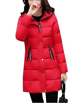 Mujer Abrigos Calor Chaqueta Larga Parka Grueso Cazadoras De Invierno Rojo M: Amazon.es: Ropa y accesorios