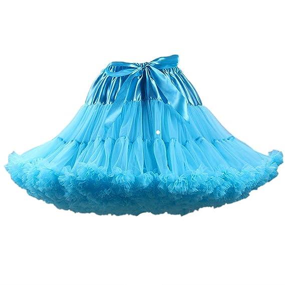 Qixuan Mujeres Malla Plisado Acampanado Bubble Mini Falda de ...