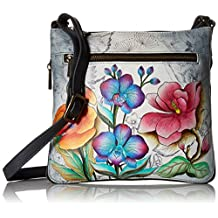 Anuschka Hand Painted Expandable Travel Crossbody Floral Fantasy