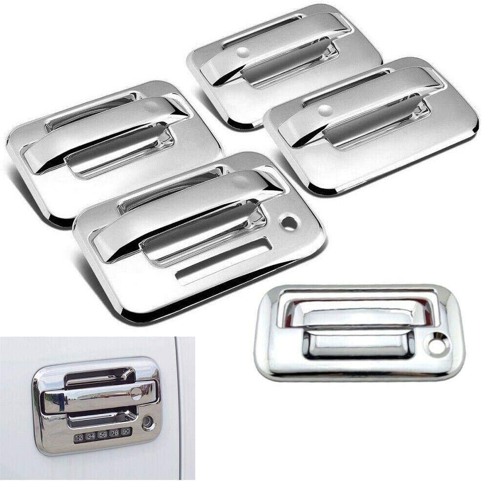 Overun 3-Layer Triple Chrome Plated Side 4 Door Handle Cover with Keypad+Tailgate Cover Designed for 2004-2014 Ford F-150