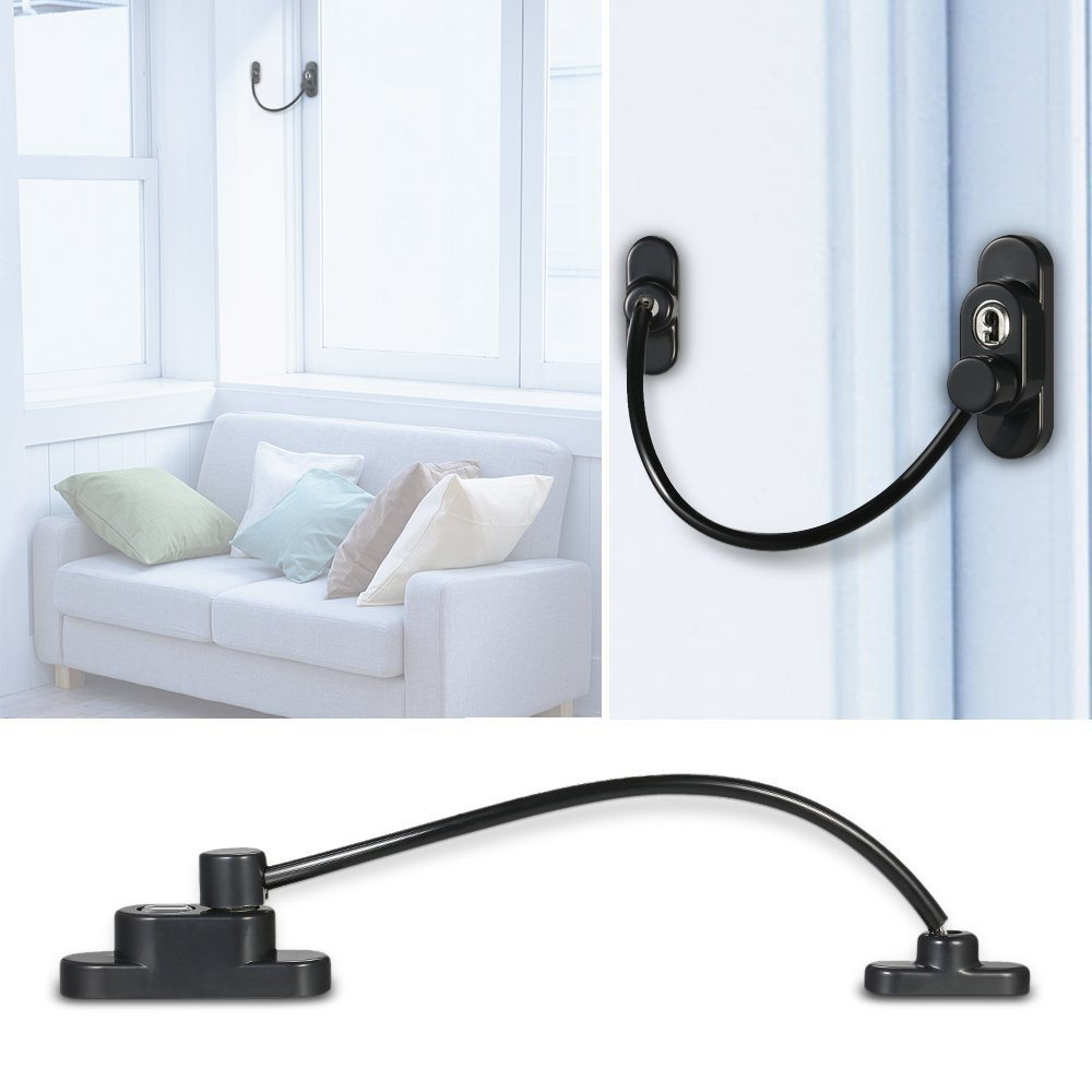 1pc Universal Window Door Cable Restrictor Child Baby Safety Security Lock Catch Wire Black