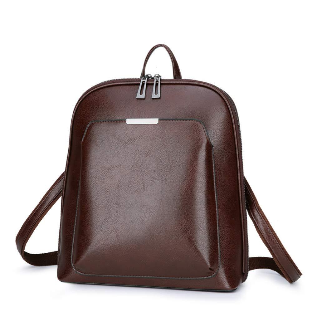 hysxm vintage student ryggsäck berömt läder kvinna ryggsäckar för tonårsflickor lyx skolväskor kvinnor ryggsäck Mörkbrun