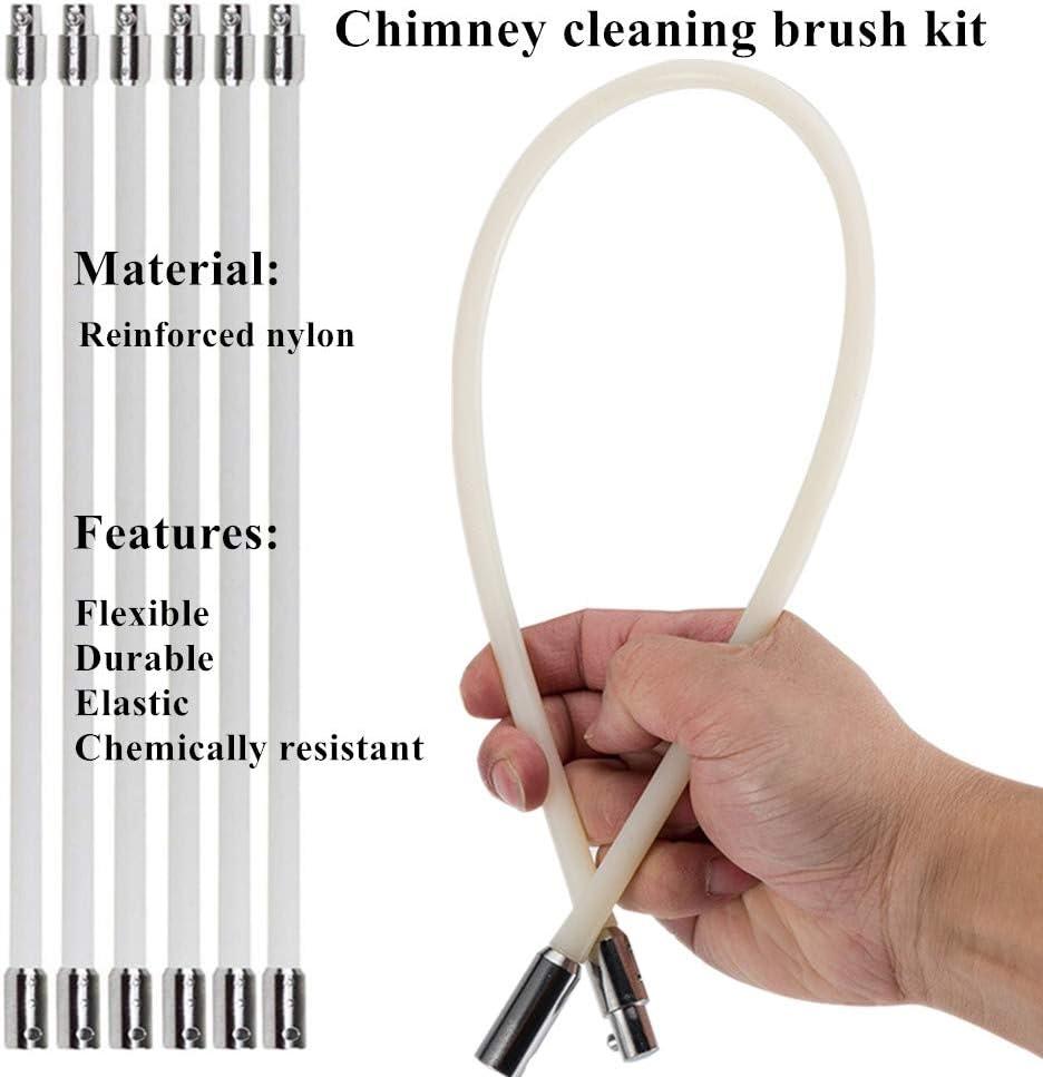 kit el/éctrico giratorio de barrido de chimenea con varillas flexibles de nailon y cabezal de cepillo 5 metros juego de cepillo giratorio para chimenea Kit de limpieza de chimenea