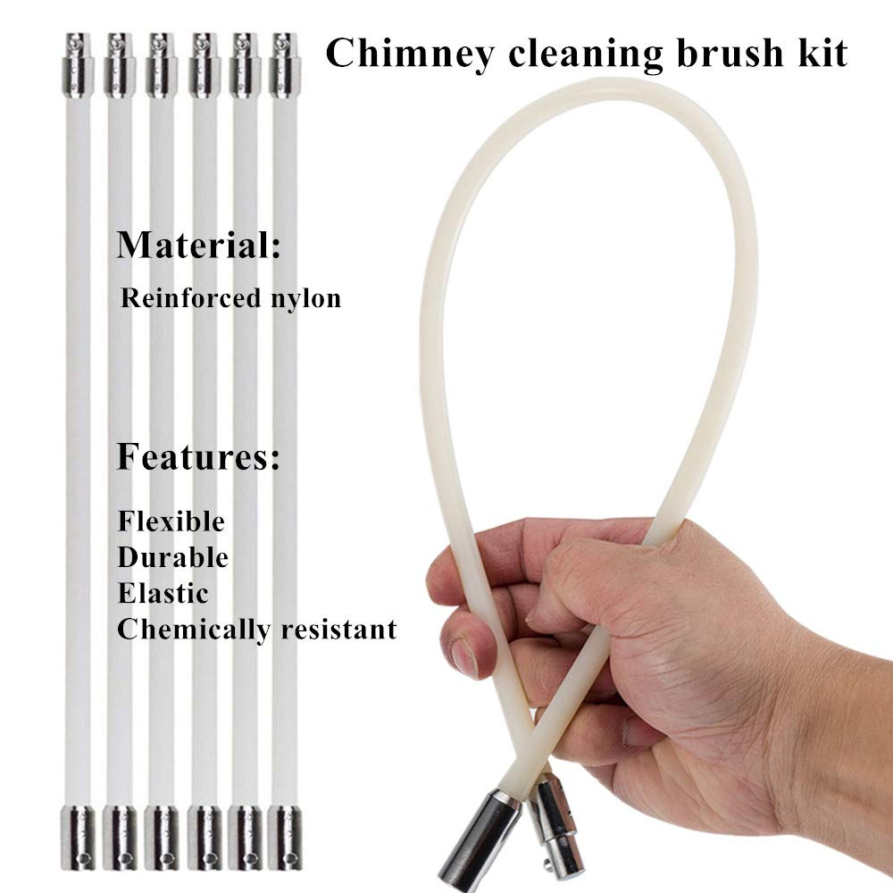 33ft Chimney Brush Electrical Drill Drive Sweeping Cleaning Tool Kits with Nylon Flexible Rods (10 rods) by SKYSP (Image #3)