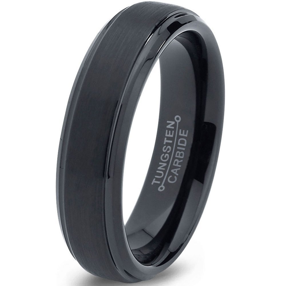 Tungsten Wedding Band Ring 6mm for Men Women Comfort Fit Black Beveled Edge Brushed FREE Custom Laser Engraving Lifetime Guarantee