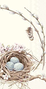 Ideal Home Range 48 Count 3-Ply Paper Guest Towel Dinner Buffet Napkins, Bird's Nest with Eggs