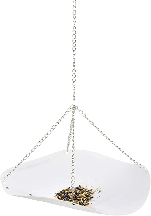 """Home-X Hanging Bird Seed Catcher Tray, PVC Plastic Bowl with Iron Chains and Hook for Bird Feeder and Lawn Care, 18"""" Diameter, White"""