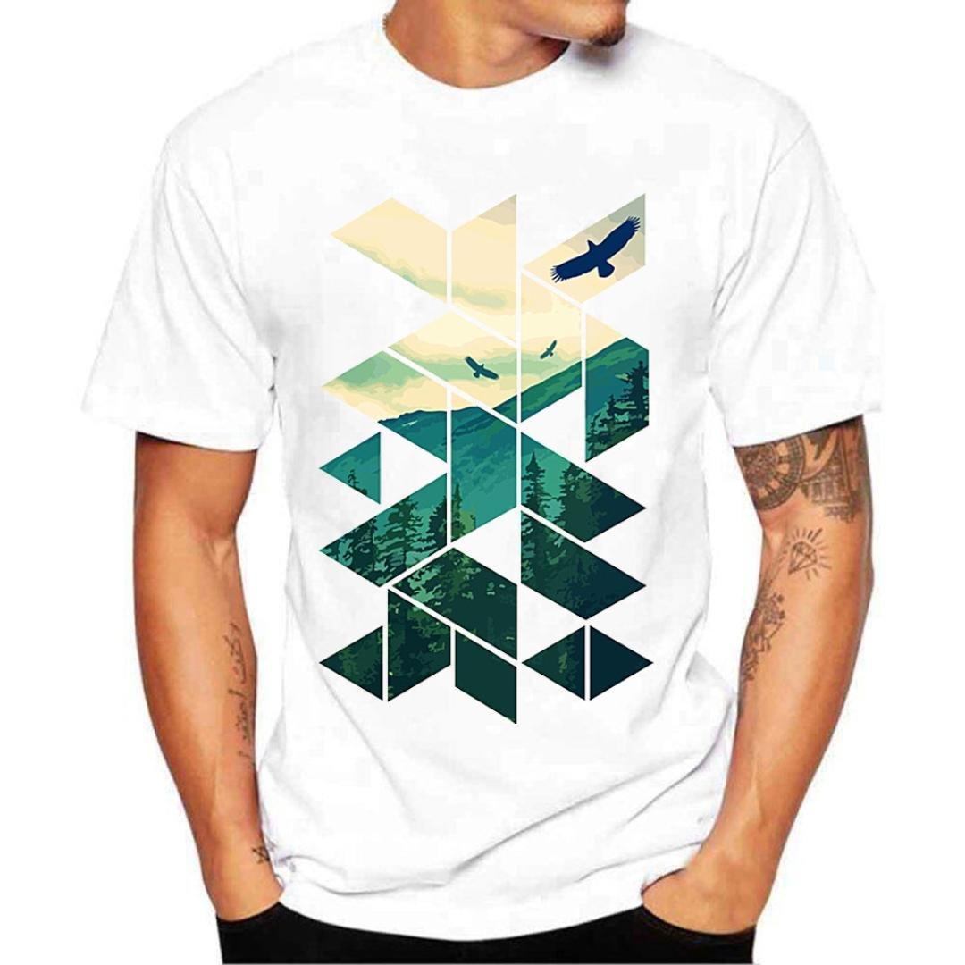 Casual T Shirt, Shybuy Men Fashion Summer Tops Boy Printing Tees Shirt Short Sleeve Top Blouse (White, 4XL)