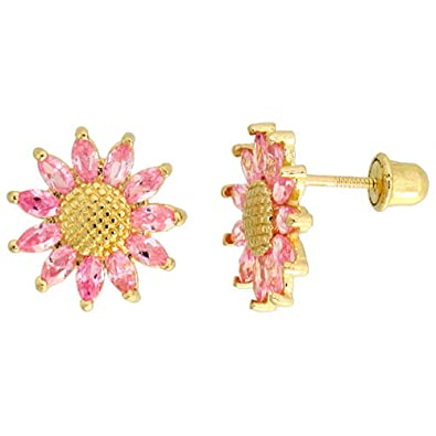 091f22723 Image Unavailable. Image not available for. Color: 14k Gold Sunflower Stud  Earrings Pink Cubic Zirconia Stones ...