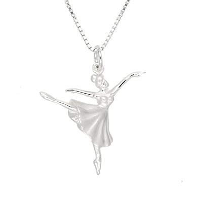 Amazon sterling silver rhodium plated 3d small arabesque amazon sterling silver rhodium plated 3d small arabesque position ballet dancing ballerina pendant with polished box chain necklace 16 inches aloadofball Images