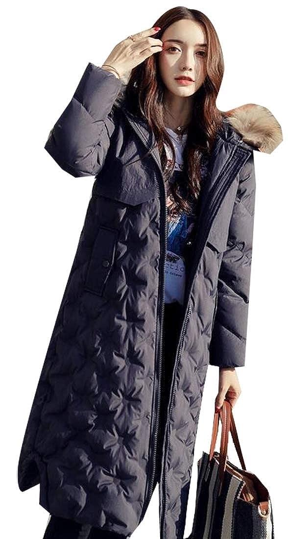 Grey Sanderso Women's Long Sleeve Down Puffer Coat Fur Trim Plush Lined Detachable Hood
