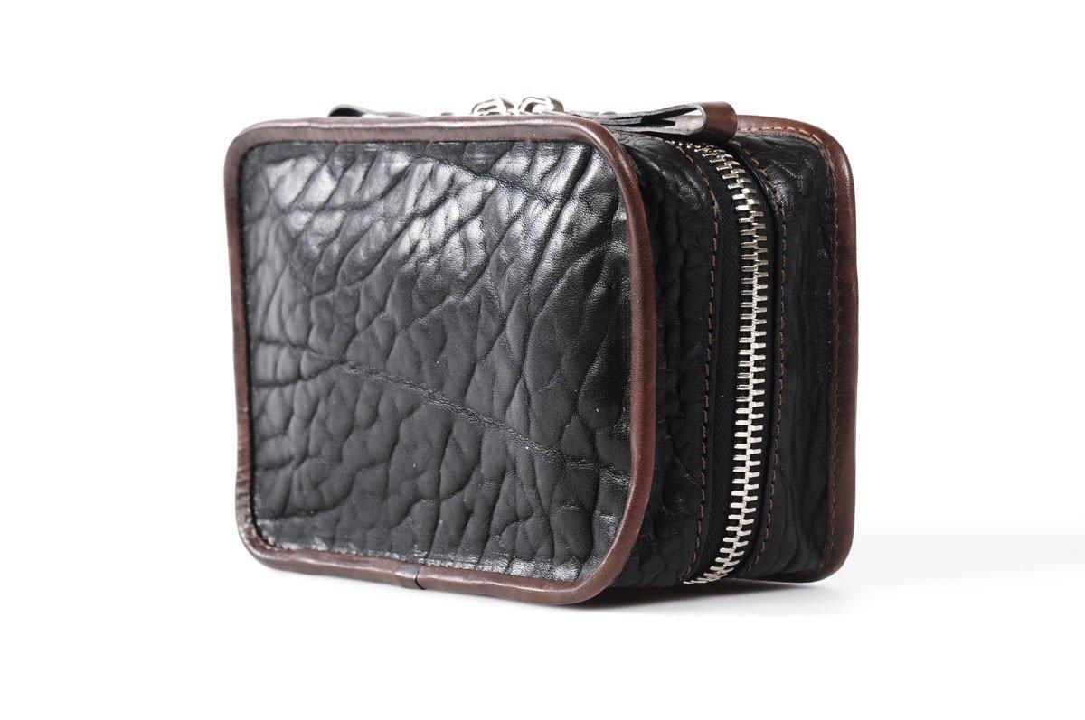 Handmade Buffalo Leather Carryall Tech Kit - Onyx Walnut