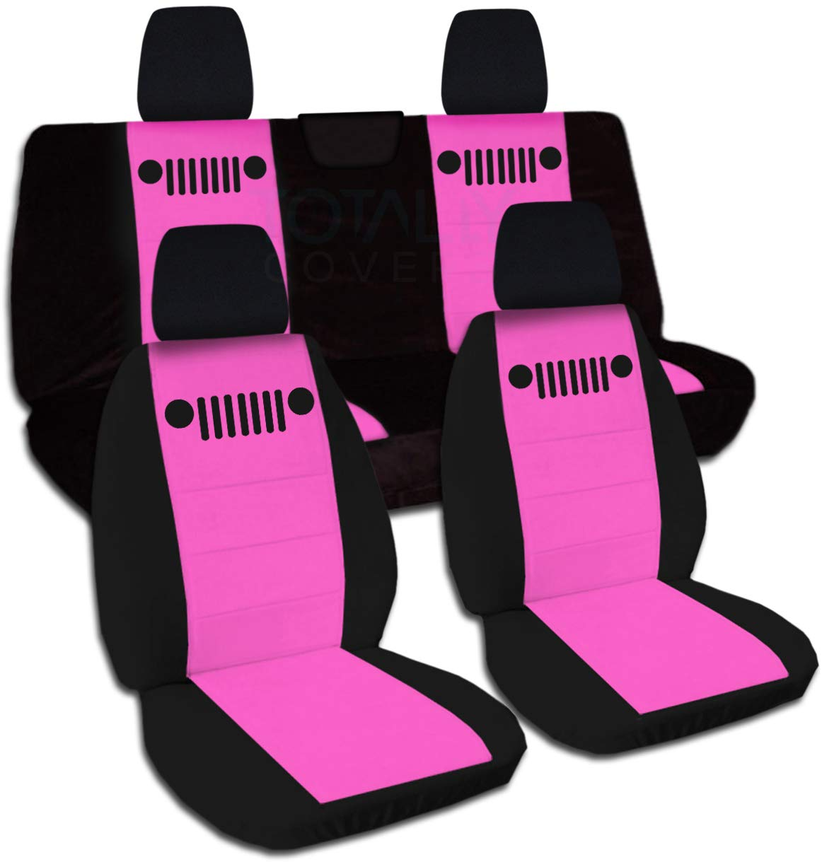 Totally Covers Fits 2018-2019 Jeep Wrangler JL Two-Tone Seat Covers: Black & Hot Pink - Full Set: Front & Rear (21 Colors) 2-Door/4-Door Solid/Split Bench Back w/wo Armrest/Headrest