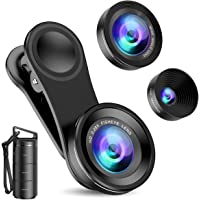 Criacr Phone Camera Lens, 3 in 1 Cell Phone Lens Kit for iPhone, Samsung, 180°Fisheye Lens, 0.6X Wide Angle Lens, 15X…