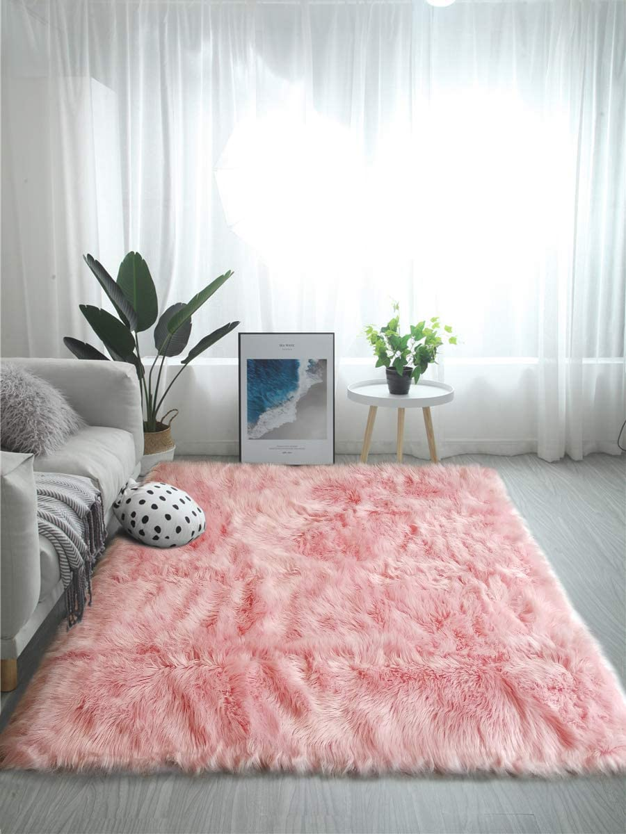 OJIA Deluxe Soft Fuzzy Fur Rugs Faux Sheepskin Shaggy Area Rugs Fluffy Modern Kids Carpet for Living Room Bedroom Sofa Bedside Decor 3 x 5ft,Pink