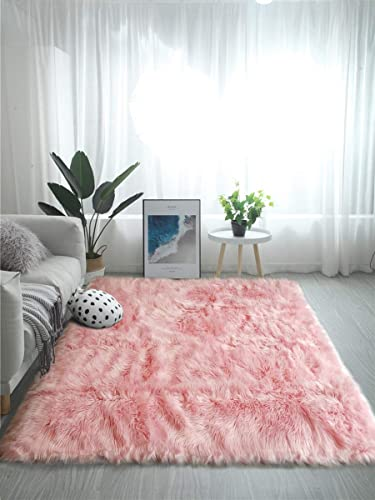 OJIA Deluxe Soft Fuzzy Fur Rugs Faux Sheepskin Shaggy Area Rugs Fluffy Modern Kids Carpet