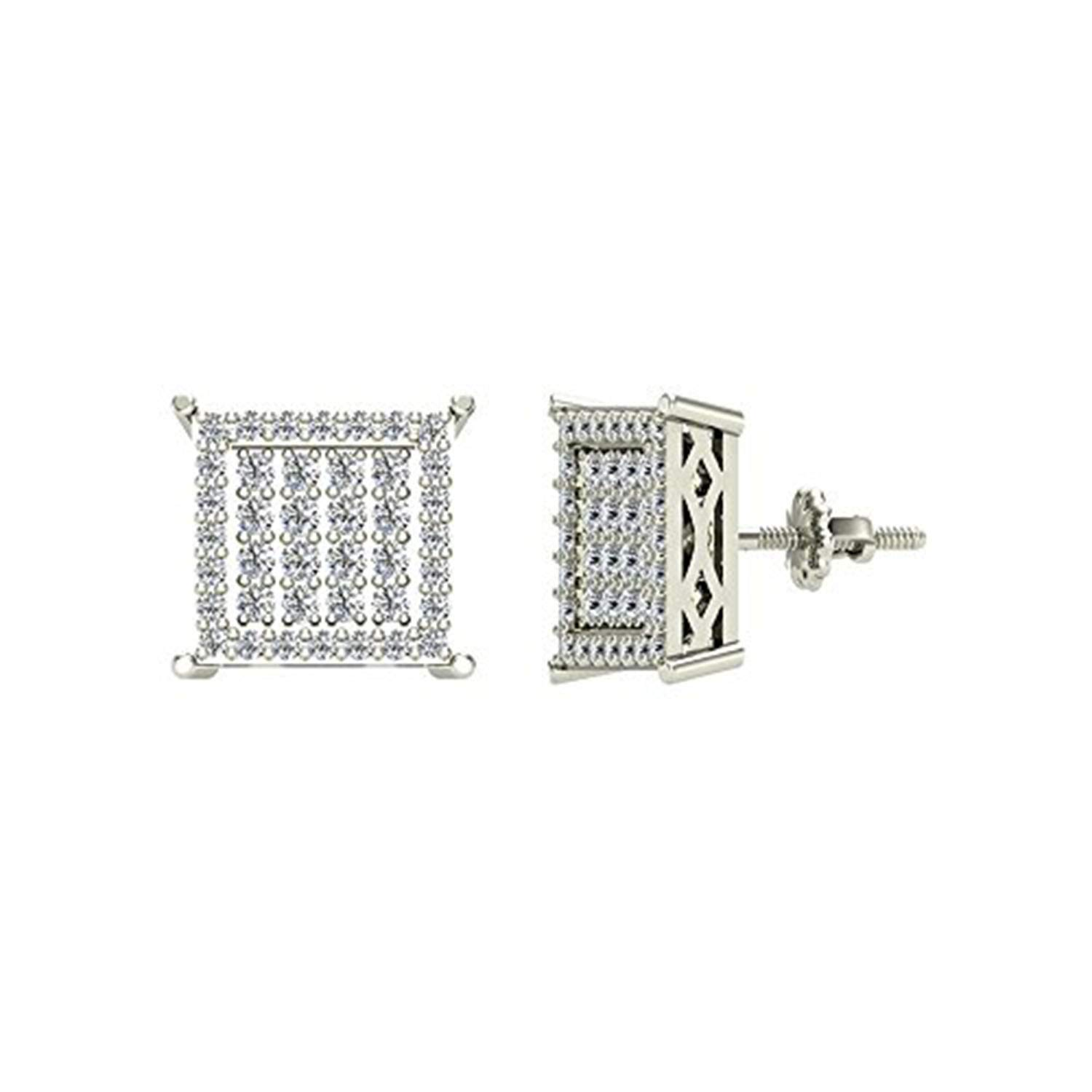14K White Gold Plated Simulated Diamond Studded Screwback Square Frame Stud Earrings For Women,Girls Jewelry