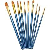 AKORD-Multifuncional Nylon Brochas, de plástico, azul, 10unidades