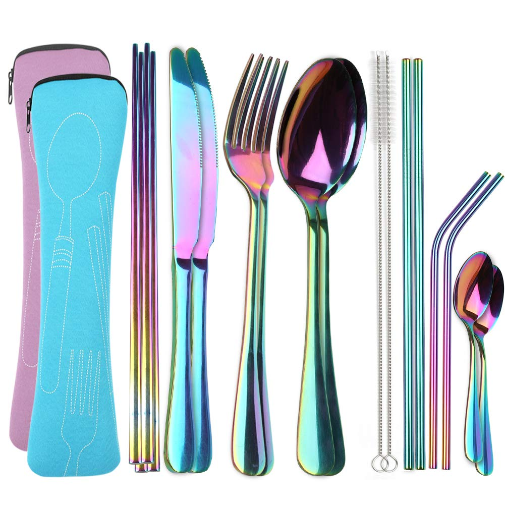 Travel Utensils with Case, OHFUN Healthy & Eco-Friendly 9 Pieces Travel Silverware Portable Flatware Sets for Traveling Camping Picnic Working or Lunch Box, Dishwasher Safe (Pink+Blue)