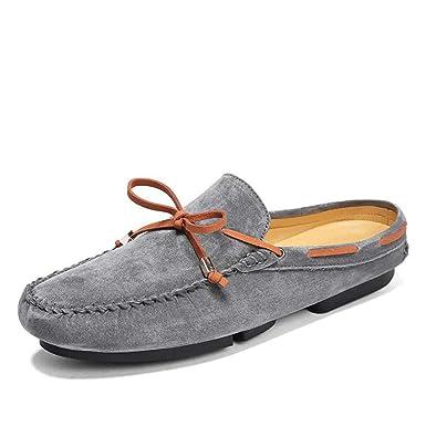 Herren-Halb-Slipper-Schuhe, Frühling Herbst Lässige Leder Erbsen Schuhe, d66abdc624
