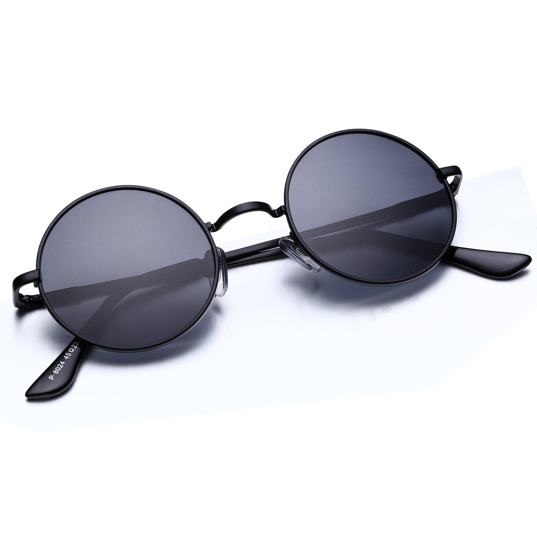 f8bc51f9fc44 Amazon.com: Argus Le Lennon Retro Round Sunglasses, Vintage Polarized  Hipple Glasses with Plain Lens: Clothing