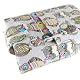 Handmade Fabric Book Sleeve - Perfect For Hardbacks Or Large Paperbacks - Padded, Cute Owl Fabric