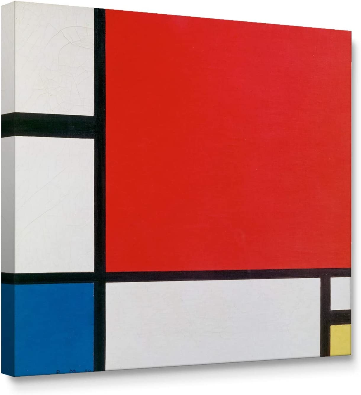 Niwo ART - Composition with Red Blue and Yellow, World's Most Famous Paintings Series, Canvas Wall Art Home Decor, Gallery Wrapped, Stretched, Framed Ready to Hang