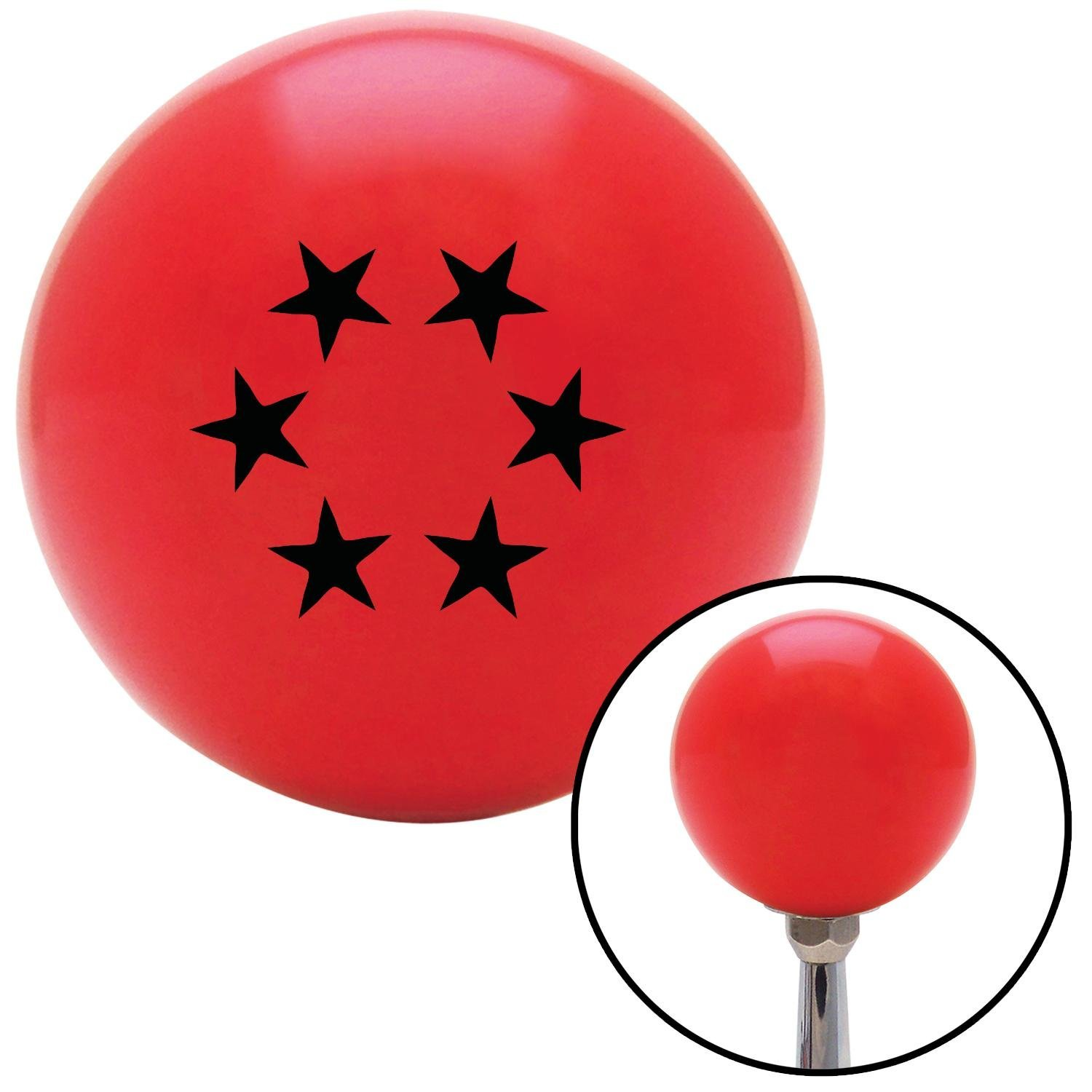 Black 5 Stars in Circle American Shifter 101331 Red Shift Knob with M16 x 1.5 Insert