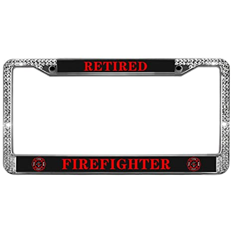 FIRE FIGHTER RETIRED WITH LOGO METAL LICENSE PLATE MADE IN USA