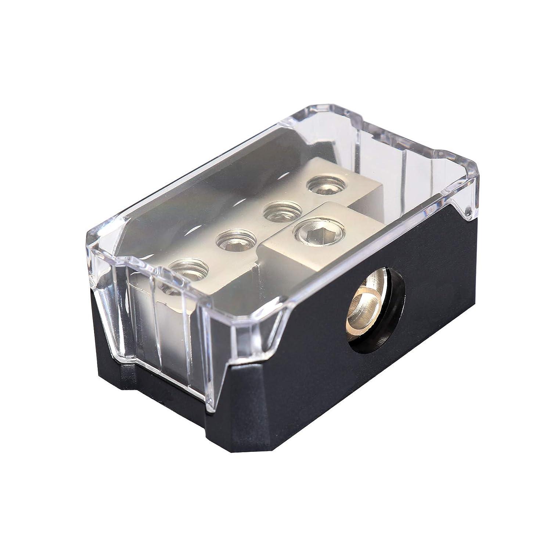 DeepRoar Power Distribution Block 0//2//4 Gauge in to 4//8//10 Gauge Out Circuit Protector Black