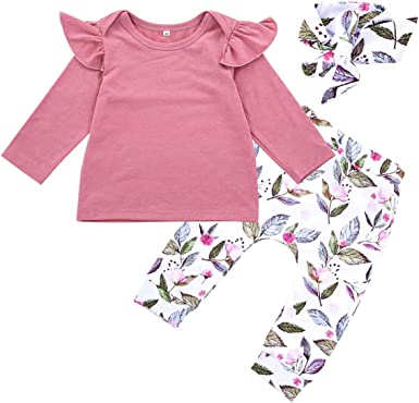 puseky Infant Baby Girls Ruffle Long Sleeve Romper Bowknot Floral PantsHeadband Outfits Set