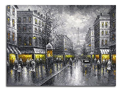 Wieco Art - Paris Street View Extra Large Modern Giclee Contemporary Cityscape Artwork Decorative Landscape Oil Paintings reproduction on Canvas Wall Art for Home Decorations Wall Decor 48x36inch