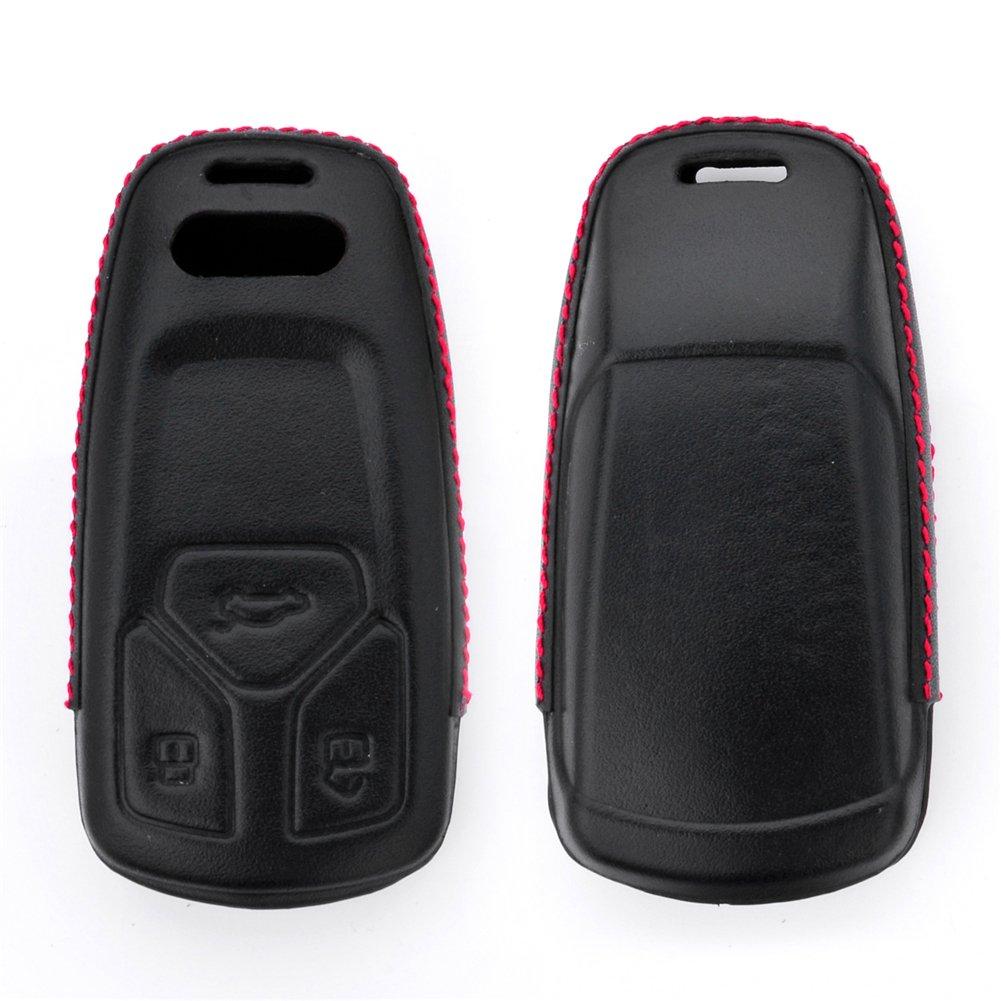 DAYJOY Luxury Premium Genuine Cow Leather Car Key Shell Cover With Key Chain For Audi Q7 A4 A4L TT TTS Series keyless remote control Smart Key fob Holder(BLACK)