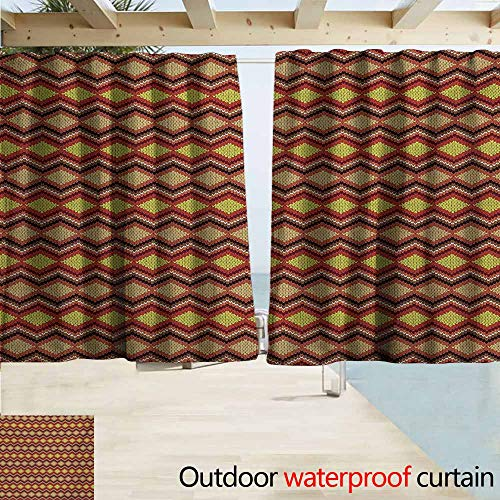 AndyTours Outdoor Patio Curtains,Tan and Brown Knitting Themed Graphic Pattern with Zigzag Ornamental Chains and Warm Hues,Outdoor Privacy Porch Curtains,W63x63L Inches,Multicolor