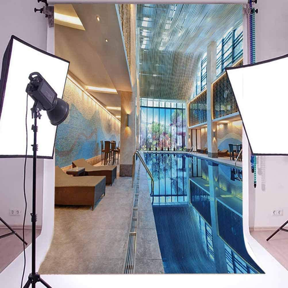 Spa 6.5x10 FT Photo Backdrops,Indoor Swimming Pool with Relaxing Long Seats Calming Image Print Background for Baby Shower Bridal Wedding Studio Photography Pictures Turquoise Pale Blue and White