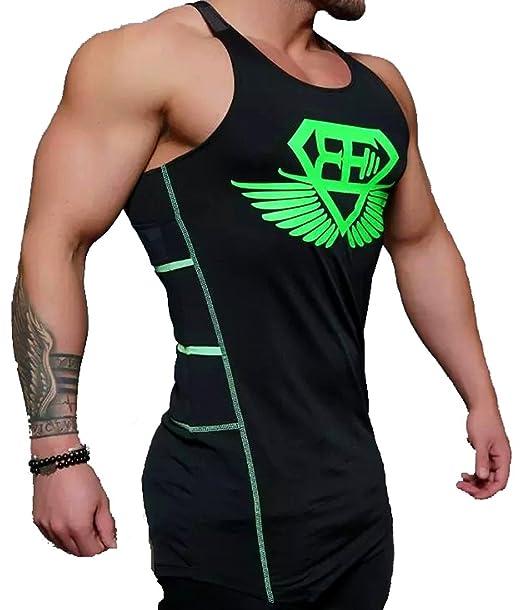 A. M. Sport Camisa Fitness de Tirantes para Hombre para Entrenar en el Gimnasio y Gym. T-Shirt Bodybuilding Transpirables. (EA Logo Verde): Amazon.es: Ropa ...