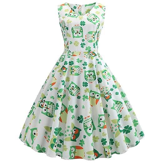 19abd68e84 Uscharm Back Zipper Dress St. Patrick s Day Women s Shamrock Print Prom  Swing Loose High Waist