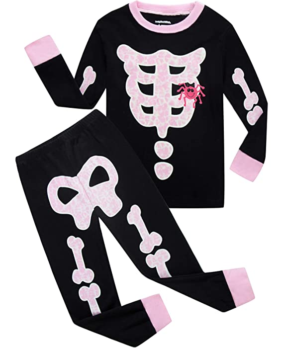Girls Halloween Pajamas Kids Pjs Skeleton Glow-in-The-Dark Toddler Halloween Clothes Size 7 Black