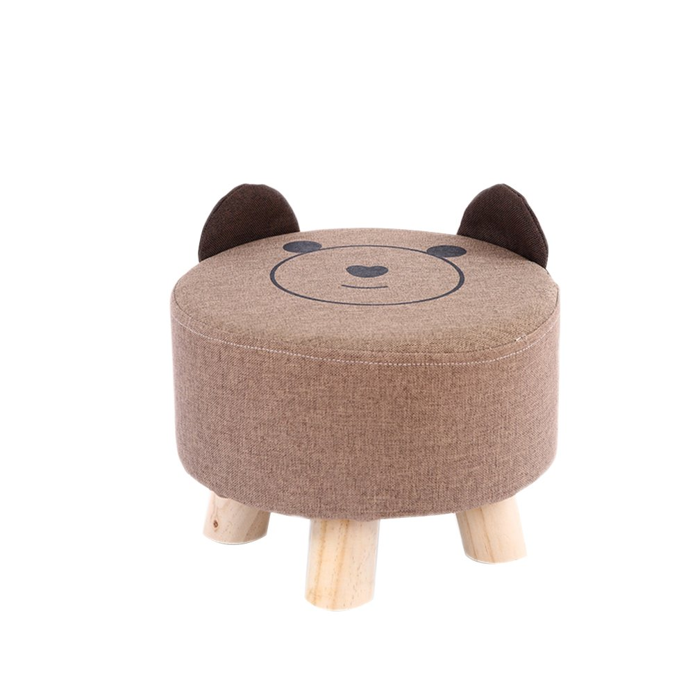HM&DX Round Ottoman Foot stool,Linen Upholstered Footstool Bear Foot rest With removable seat cover 3 wood feet For kids-Sand