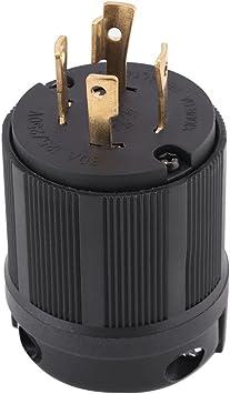 30A Twist-Lock Plug 3P 4W 125//250VAC L14-30P BK//WT