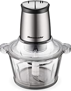 Food Chopper 8-Cup Food Processor by Homeleader, 2L BPA-Free Glass Bowl Blender Grinder for Meat, Vegetables, Fruits and Nuts, Fast & Slow 2-Speed, Stainless Steel Motor Unit and 4 Sharp Blades