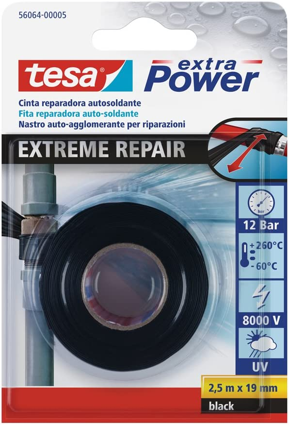 tesa TE56064-00005-00 Cinta de reparación autosoldante Extreme Repair 2,5m x 19mm negro, Standard