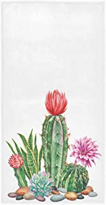 Vdsrup Tropical Cactus Hand Towels Cacti Succulent Flowers Face Towel Soft Thin Guest Towel Portable Kitchen Tea Towels Dish Washcloths Bath Decorations Housewarming Gifts 16 X 30 in