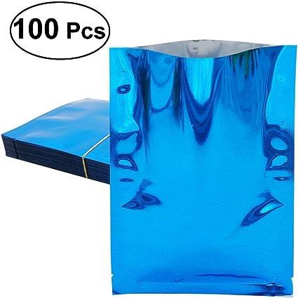 bolsas de almacenamiento de muestra de calidad alimentaria 7.5*6.5cm 100 bolsas de embalaje de aluminio para sellado al vac/ío Ziplock Mylar de colores para sellado al por mayor